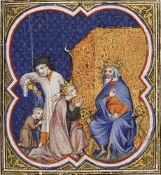 A depiction of Bathsheba asking David that Solomon succeed him as king