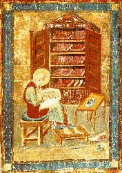 A depiction from the Codex Amiatinus of Ezra writing