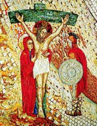 An image of part of the mosaics in the Vatican's Redemptoris Mater Chapel, which was redone in 1999