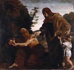 Italian painter Giovanni Lanfranco's depiction of Elijah receiving bread from the widow of Zarephath