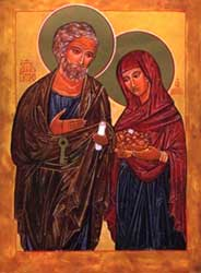 An image of an icon depicting Saint Peter and his wife