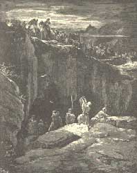 "Gustave Doré's 1865 engraving for ""La Sainte Bible"" depicting David proving to Saul that he spared his life, as narrated in 1 Samuel 24"