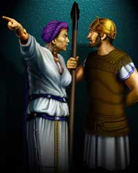 A depiction of Athaliah giving the order to destroy the Davidic line