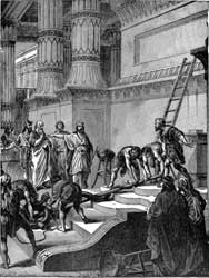 "A depiction of Hezekiah ordering the removal of ""Nehushtan"""