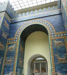 A photo of Babylon's Ishtar Gate as reconstructed in Berlin