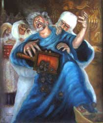 A depiction of King Uzziah being struck with leprosy while inappropriately making an offering of incense to the Lord