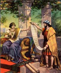 "A depiction, by an unidentified artist, of Josiah hearing the words of the ""found"" book, as narrated in 2 Kings 22"