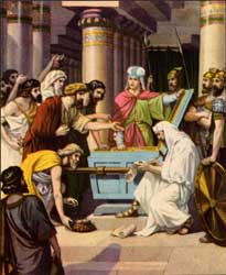 An unidentified artist's depiction of Jehoash collecting money to repair the Temple