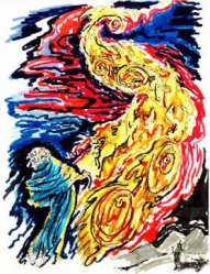 American Jewish artist Phillip Ratner's depiction of the chariot of fire