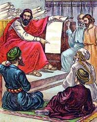 A depiction of the Bereans searching the Scripture daily done by an unknown illustrator of a Bible card circa 1897