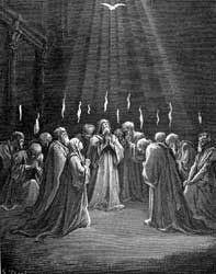 An image of French artist Gustave Doré's depiction of the coming of the Holy Spirit on Pentecost