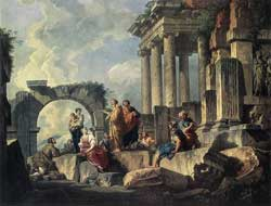 Giovanni Paolo Pannini's 1744 oil on canvas depicting Paul in Rome