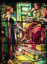 Image of the Tiffany stained glass window at Union Congregational Church in Montclair, NJ, that depicts Paul before Agrippa