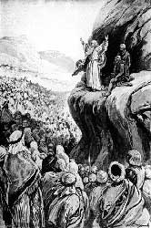 "Paul Hardy's depiction of Moses giving the farewell ""sermon"" that is the bulk of Deuteronomy"