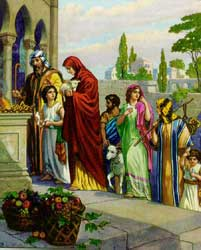 An unidentified artist's depiction of the Israelites offering their firstfruits and tithes
