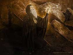 David Larson's digital image of Moses interceding with God for the people of Israel, as described in Deuteronomy 9