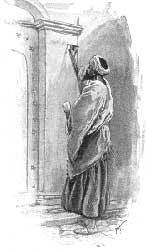 An unidentified artist's depiction of someone writing God's commands on the doorframe of their house, as described in Deuteronomy 6:9