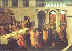 A depiction of Xerxes's banquet by Italian painter Jacopo del Sellaio (1441-1493)