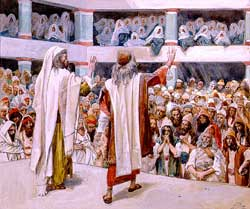 A watercolor by French painter James Joseph Jacques Tissot (1836-1902) illustrating Moses and Aaron before the Israelites as in Exodus 4:30