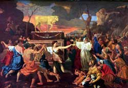 A depiction of the Israelites with their golden-calf god, by French painter Nicolas Poussin (1594-1665)