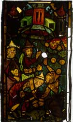 A picture of a late-14th-century stained glass window from Frankfurt's Marienkirche that depicts the collection of manna