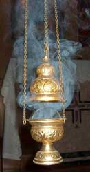 A photo by an unidentified photographer of a censer at the Mt. Carmel Hermitage in Christoval, Texas