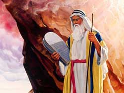An image of Moses with the two tablets of the law done by an unidentified artist in an unidentified medium