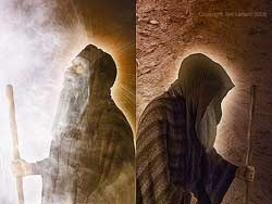 A digital image by Ted Larson depicting both Moses' face, glowing and veiled (Exodus 34:29-35)