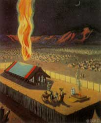 An unidentified author's depiction of the Glory of the Lord in a pillar of fire over the Tabernacle