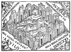 A 1530 woodcut by an unidentified master connected to the Reformation-era writings, depicting Ezekiel's vision of Jerusalem and the Temple
