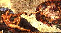 A photo of Michelangelo's 'Creation of Adam' painted on the ceiling of the Sistine Chapel before its 1980 restoration