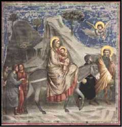 Giotto di Bondone's depiction of Joseph, Mary, and Jesus's flight to Egypt