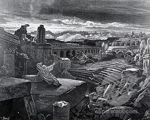 French artist Gustave Dore (1832-1883) rendering of Isaiah�s prophesying of the destruction of Babylon