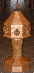 A picture of the Baptismal Font at Grace Lutheran Church, Elgin, Texas
