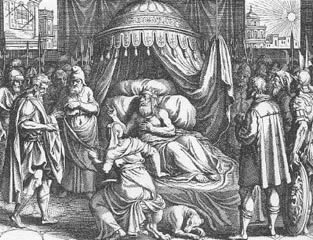 Hezekiah�s illness as depicted around 1625-1630 by the Swiss copperplate engraver Matthaeus Merian the Elder (1593-1650)