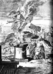 German painter and draughtsman Matthias Scheits' 1672 woodcut depicting significant events from Samson's life