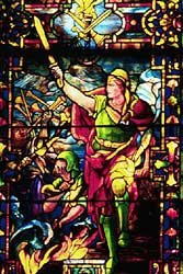 Image of the Tiffany stained glass window at Union Congregational Church in Montclair, NJ, which window depicts Gideon's rout of the Midianites