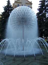 A picture by an unidentified photographer of a fountain found in a courtyard in downtown Kiev, Ukraine