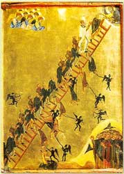 An image of an icon depicting St. John of Climacus's vision of a ladder to heaven