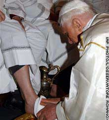 An Associated Press photo of Pope Benedict washing the feet of twelve men April 13, 2006