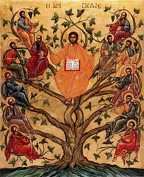 An image of an icon depicting Jesus as the vine and the disciples as the branches