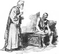 An unidentified artist's depiction of Eliphaz speaking to Job