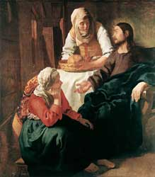 Dutch painter Jan Vermeer's 1654/1655 depiction of Jesus with Mary and Martha, as told in Luke 10:38-42