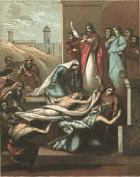 A depiction by an anonymous artist of Jesus and the widow of Nain