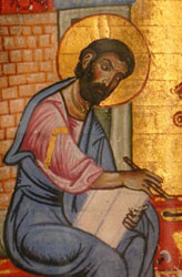 The Evangelist St. Mark as illustrated in a 12th-century Byzantine Greek manuscript of the Gospel accounts now in the special collections of the University of Glasgow