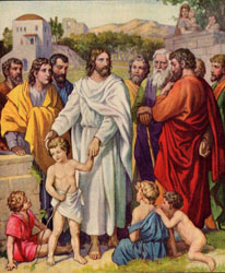 An image by an unknown artist depicting Jesus' blessing little children