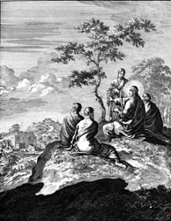 Dutch copper-engraver Caspar Luiken's depiction of Jesus' teaching on the Mount of Olives