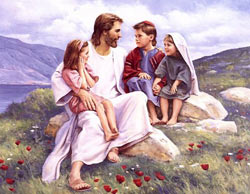 An unidentified artist's depiction of Jesus with children