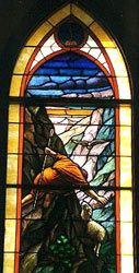 An image of the Lost Sheep window at Grace Lutheran Church (ELCA) in Tripoli, Iowa