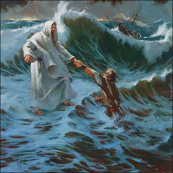 Contemporary American artist Brian Jekel's depiction of Jesus walking on water and rescuing Peter